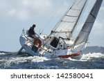 yacht and skipper sailing at... | Shutterstock . vector #142580041