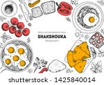 shakshouka cooking and... | Shutterstock .eps vector #1425840014