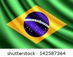 waving flag of brazil  vector | Shutterstock .eps vector #142587364