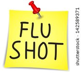 flu shot written on a note... | Shutterstock .eps vector #142589371