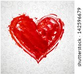 card with grunge heart and... | Shutterstock .eps vector #142596679