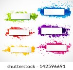 set of bright grunge banners...   Shutterstock .eps vector #142596691