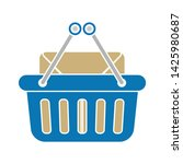shopping basket with cardboard... | Shutterstock .eps vector #1425980687