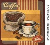 Retro Card Design With Coffee