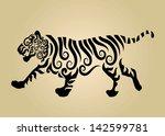 tiger floral decorations 1.... | Shutterstock .eps vector #142599781