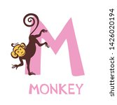 letter m and monkey. english... | Shutterstock .eps vector #1426020194