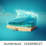 Stock photo travel and vacation background d illustration with cut of the ground and the beautiful sea 1426048127
