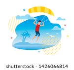 parasailing or skydiving on... | Shutterstock .eps vector #1426066814