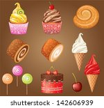 sweet pastry set. vector ... | Shutterstock .eps vector #142606939