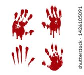 bloody hand print set isolated... | Shutterstock .eps vector #1426105091