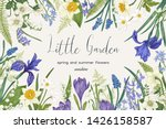 floral frame with spring and... | Shutterstock .eps vector #1426158587