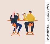 men and women having lunch in... | Shutterstock .eps vector #1426174991