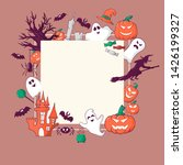 cute halloween frame with cute... | Shutterstock .eps vector #1426199327