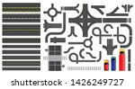set of road parts with dashed... | Shutterstock .eps vector #1426249727