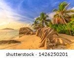 anse source d'argent at sunset. ... | Shutterstock . vector #1426250201