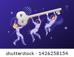 astronauts with a big key in an ... | Shutterstock .eps vector #1426258154