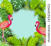 pink flamingos and exotic palm... | Shutterstock .eps vector #1426264421