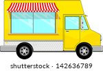yellow food bus with awning... | Shutterstock .eps vector #142636789