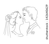 sketch of bride and groom. man... | Shutterstock . vector #142640629