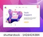 flat illustration tech support  ...