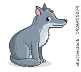 wolf sits on a white background....   Shutterstock .eps vector #1426455074