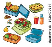lunch box set  empty container  ... | Shutterstock .eps vector #1426470164