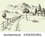 the road to a alpine farmhouse  ... | Shutterstock .eps vector #1426502381