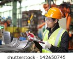 worker in factory checking... | Shutterstock . vector #142650745