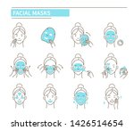 steps how to apply facial mask. ... | Shutterstock .eps vector #1426514654