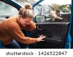 female motorist in crash for... | Shutterstock . vector #1426522847