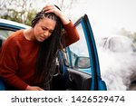 female motorist with head... | Shutterstock . vector #1426529474