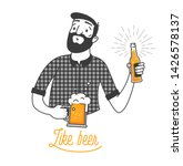 bearded man drinking cold beer... | Shutterstock .eps vector #1426578137