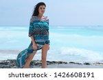 relaxed girl breathing fresh... | Shutterstock . vector #1426608191
