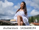 smiling traveller woman in old... | Shutterstock . vector #1426608194