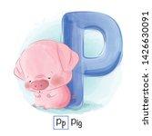Stock vector cute animal alphabet series a z 1426630091
