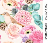 seamless pattern with pink and... | Shutterstock .eps vector #1426645457