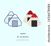 Sushi Onigiri Line Icons in two style variations - Japanese dish