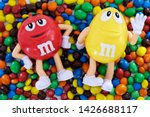 Small photo of Bangkok, Thailand. 16 June, 2019 : Character mascot of chocolate brand m&m's. M&M's are colorful button-shaped chocolates produced by Mars, Incorporated.