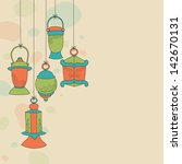 colorful hanging arabic lamps... | Shutterstock .eps vector #142670131