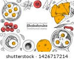 middle eastern breakfast.... | Shutterstock .eps vector #1426717214