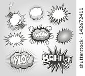 boom. comic book explosion set | Shutterstock .eps vector #142672411