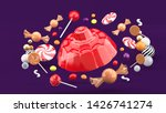 jelly is surrounded by candy...   Shutterstock . vector #1426741274