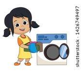 kid help their parents wash... | Shutterstock .eps vector #1426749497