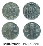 Set of 2 (two) different years South Korean 100 won copper-nickel coins lot 1992, 2002 year. The coins feature a portrait of South Korean national Hero commander Yi Sun-sin.