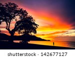 pura vida. sunset in coco beach ... | Shutterstock . vector #142677127