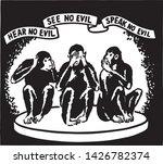 hear no evil   retro ad art... | Shutterstock .eps vector #1426782374
