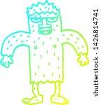 Stock vector cold gradient line drawing of a cartoon bigfoot creature 1426814741
