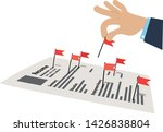 hand picking up red flags from... | Shutterstock .eps vector #1426838804