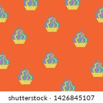 cupcakes pattern on the orange... | Shutterstock .eps vector #1426845107