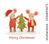 mouse with christmas trees.... | Shutterstock .eps vector #1426845671